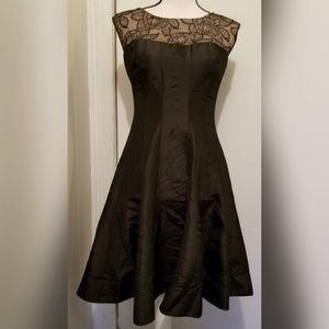 London Times Black Full Skirt Lace Overlay Dress